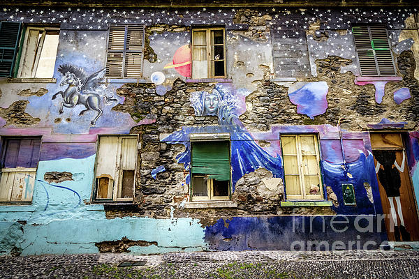 Liesl Walsh - Old Building Mural in Funchal, Madeira, Portugal