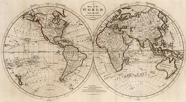 Old Fashioned World Map   1795 Greeting Card for Sale by