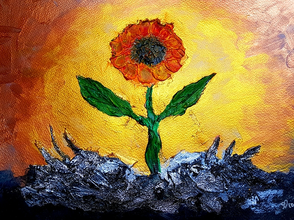 Ed Berlyn - Original Acrylic Flower Painting
