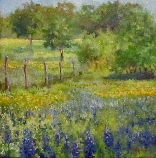 Cheri Wollenberg - Painting of Texas Bluebonnets