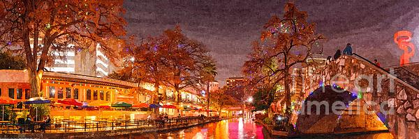 San Antonio Riverwalk During Christmas.Panorama Of The San Antonio Riverwalk During Christmas San Antonio Bexar County Texas Greeting Card