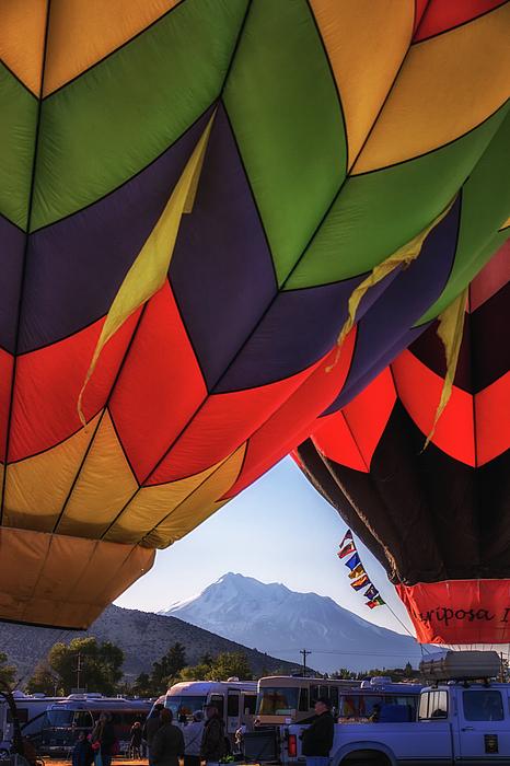 Marnie Patchett - Peeking Through   Mt. Shasta peeking through hot air balloons