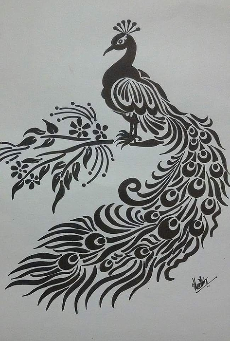 Pencil Sketch Of Peacock Greeting Card For Sale By Kanaga Rajesh