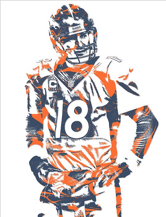 92f0d24c Peyton Manning Denver Broncos Pixel Art 8 Round Beach Towel