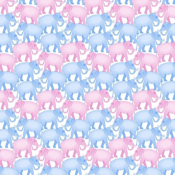 Pink And Blue Elephant Pattern Digital Art