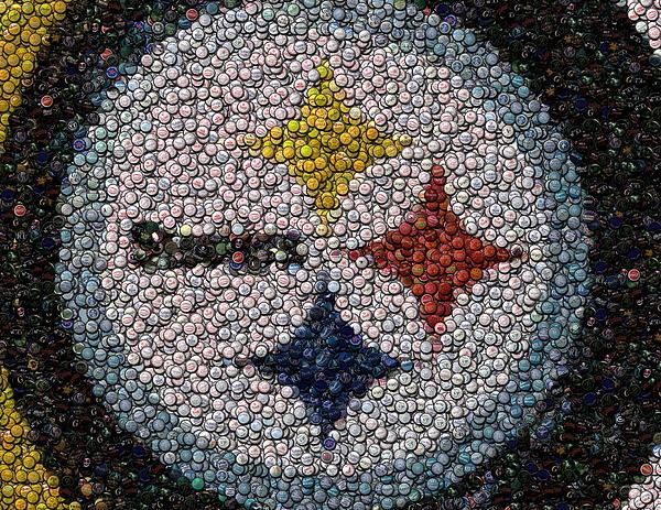 bbec73281aec Pittsburgh Steelers Bottle Cap Mosaic by Paul Van Scott