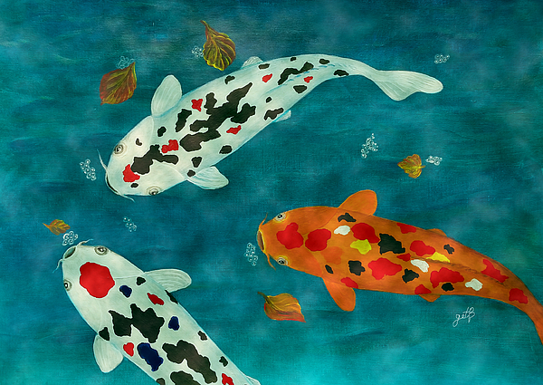 Playful koi fishes original acrylic painting weekender for Baby koi carp for sale
