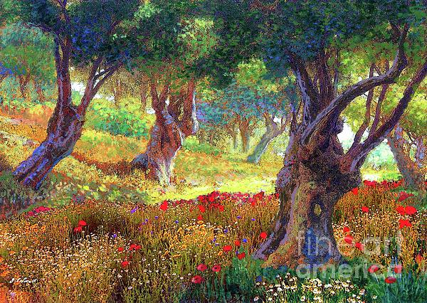 Jane Elizabeth Small - Poppies and Olive Trees,Tranquil Grove