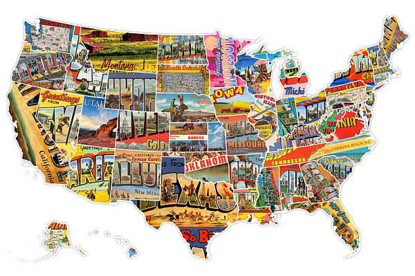 Postcards Of The United States Vintage Usa All 50 States Map T Shirt