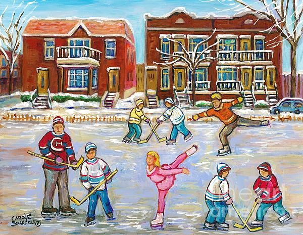 Carole Spandau - Pretty Little Pink Skater And Hockey Dad Share Ice Time Snowy Montreal Duplexes C Spandau Art