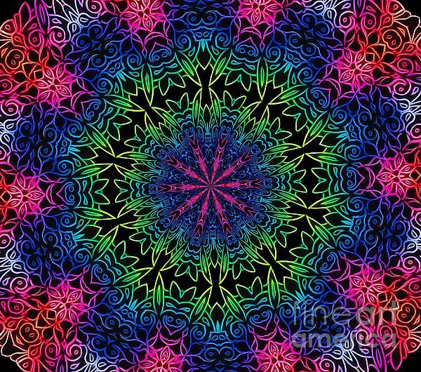 Rose Santuci-Sofranko - Rainbow Scratch Art Mandala Kaleidoscope Abstract
