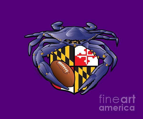 Raven Crab Football Maryland Crest Digital Art