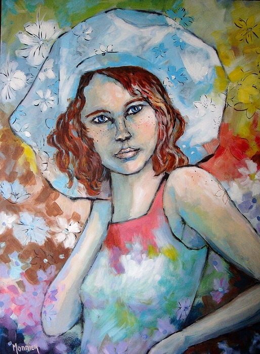 Cathy MONNIER - Red Haired Girl With A Hat