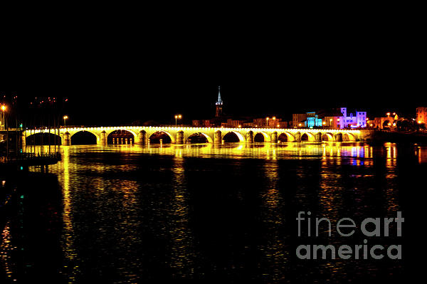 Kay Brewer - Rhone River Bridge at Night