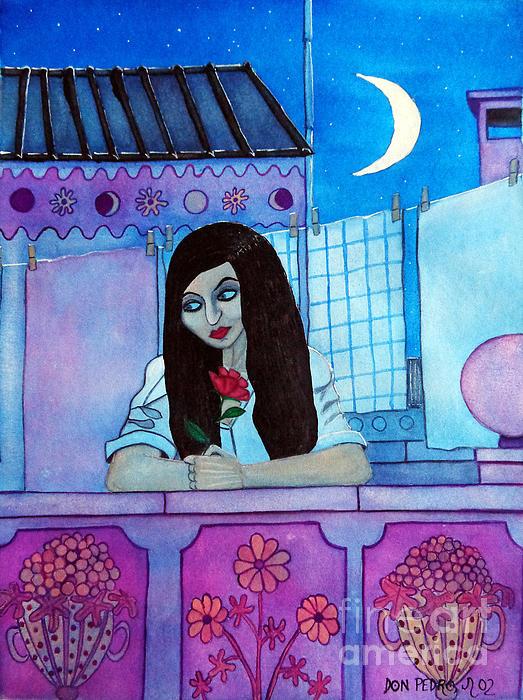 Don Pedro De Gracia - Romantic Woman in the Terrace at Night