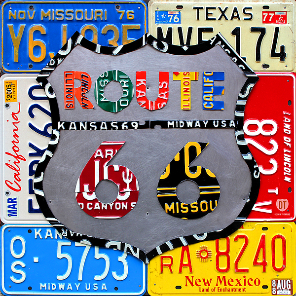 Design Turnpike - Route 66 Highway Road Sign License Plate Art