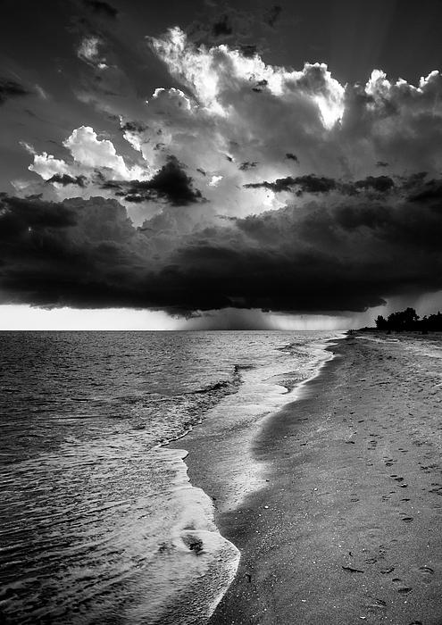Greg Mimbs - Sanibel Island Rain In Black and White