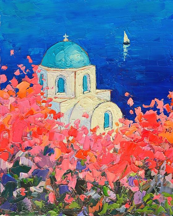 Ana Maria Edulescu - Santorini Impression - Full Bloom In Santorini Greece