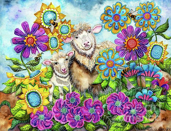 Shelley Wallace Ylst - Sheep in the Summer Garden