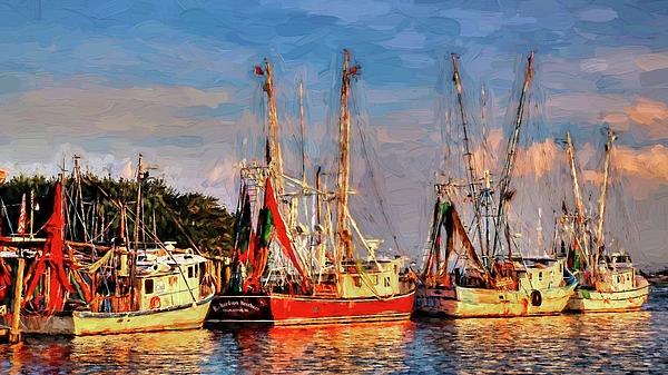 Carol R Montoya - Shrimp Boats Shem Creek In Mt. Pleasant  South Carolina Sunset