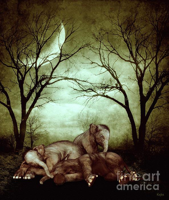 KaFra Art - Sleepy Little Elephants