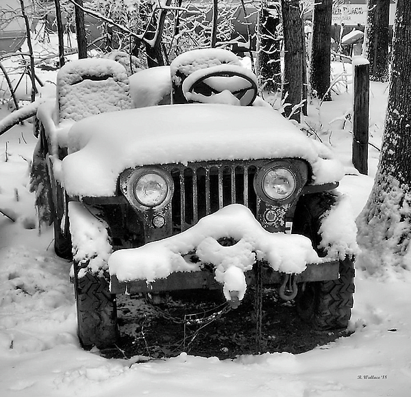 Brian Wallace - Snow Covered Jeep In BW