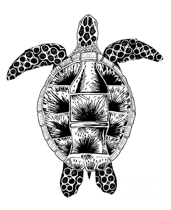 Soda Turtle Sea Turtle Great Tshirt Image Drawing