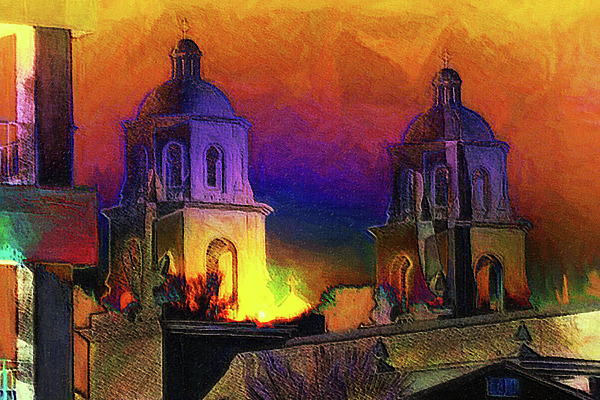 Di Designs - St. Augustine Saguarro Sunset Abstract Sketch Compilation