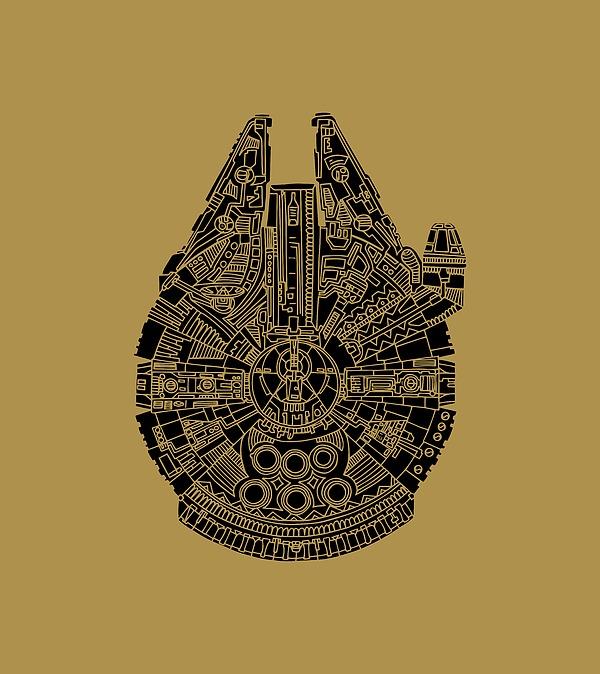 Star Wars Art - Millennium Falcon - Black Mixed Media