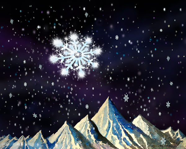Starry Night Snowflake Digital Art