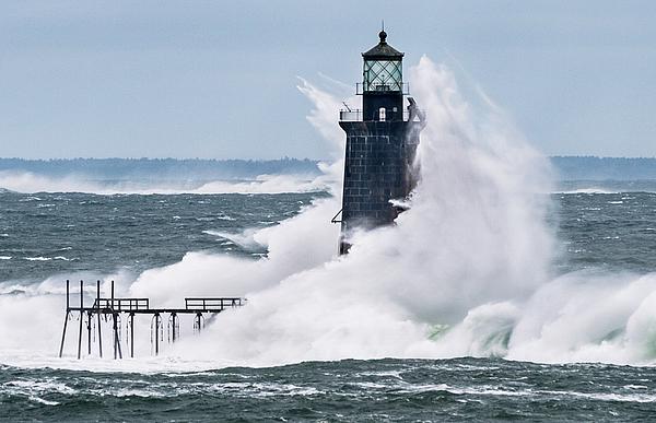 Jack Milton - Storm at Ram Island Ledge Light