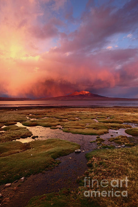 James Brunker - Stormy Sunset Over Bofedales and Lake Chungara Chile