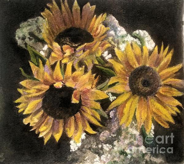 Lori Moon - Sunflowers on Black Background