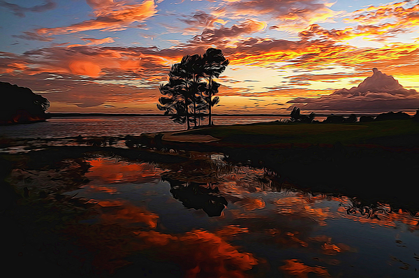 Judy Vincent - Sunset Reflection Painted