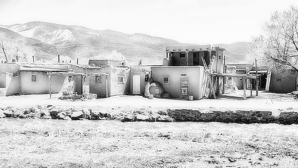 Toni Abdnour - Taos Pueblo In Black And White