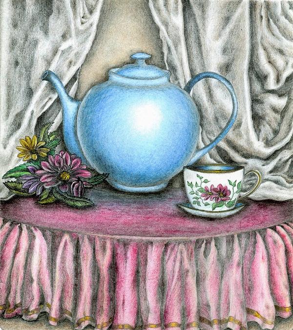 Tara Krishna - Teapot and teacup with flowers