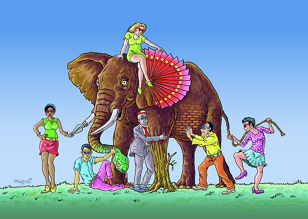 The Blind And The Elephant Drawing