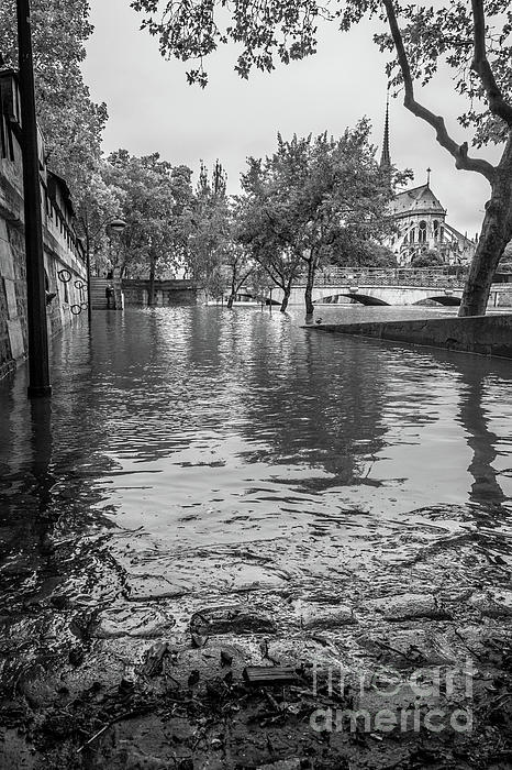 Liesl Walsh - The Edge of a Flooded Walkway in Paris, Blk Wht