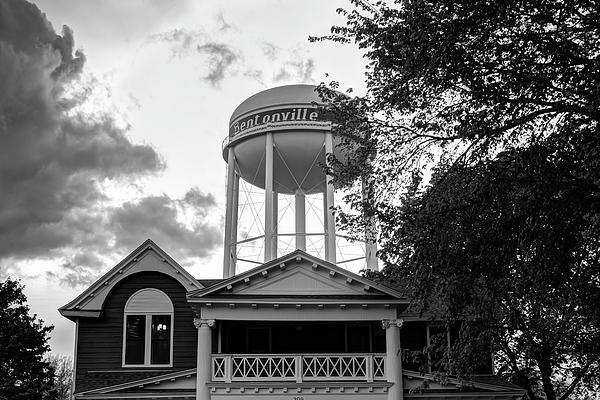 Gregory Ballos - Towering Over Downtown Bentonville - Northwest Arkansas - Black - White
