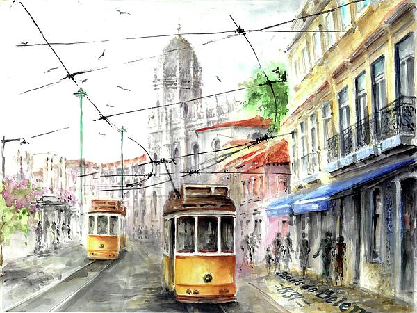 Elena Petrova Gancheva - Trams in Belem at Pasteis de Belem Lisbon