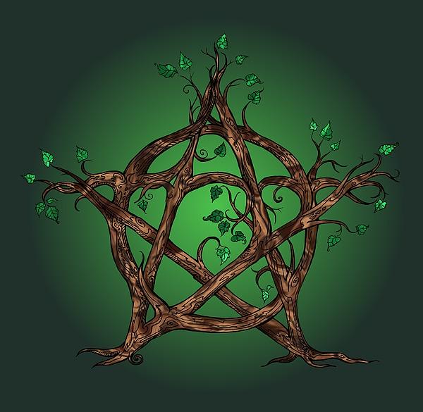 Tree Pentacle In Green Digital Art