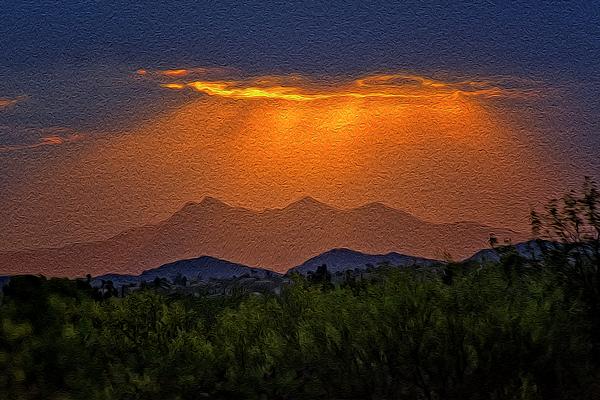 Tucson Mountains Sunset Op30 Photograph