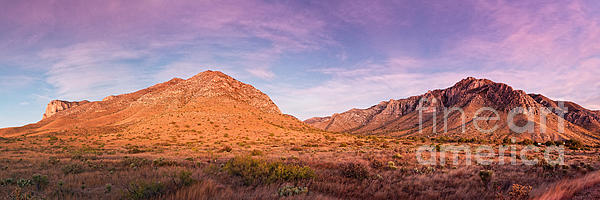 Silvio Ligutti - Twilight Panorama of Guadalupe Mountains and Pine Springs Canyon - West Texas Culberson County