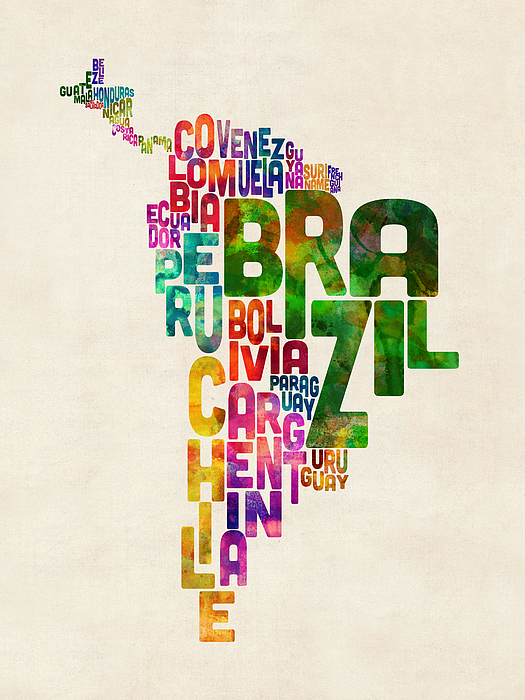 Michael Tompsett - Typography Map of Central and South America