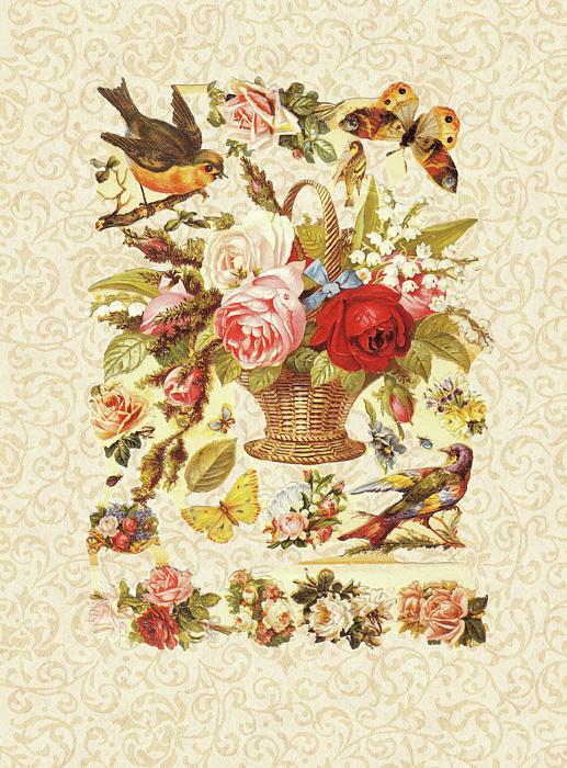 Victorian Floral Cut-out Digital Art