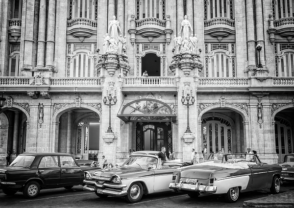 Joan Carroll - Vintage Cars And The Grand Theatre Havana Cuba BW