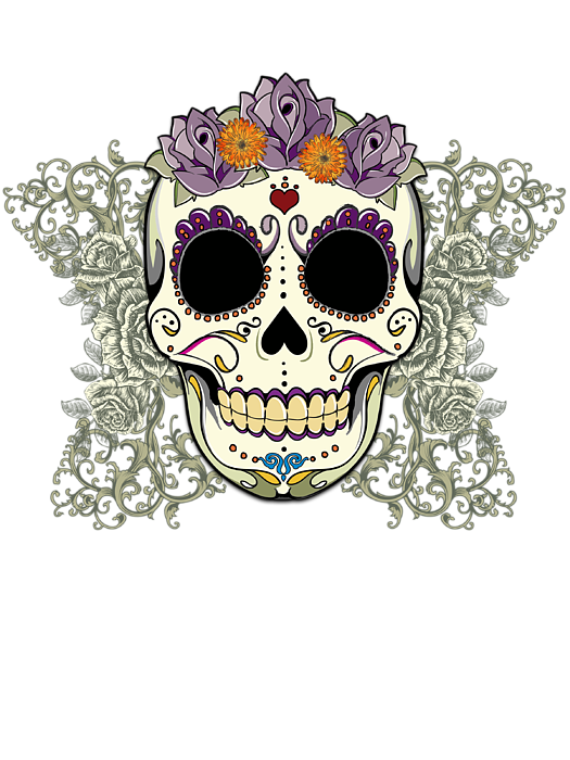 Vintage Sugar Skull And Flowers Round Beach Towel For Sale