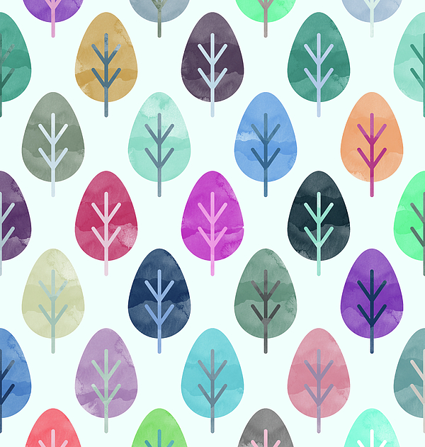 Watercolor Forest Pattern Digital Art