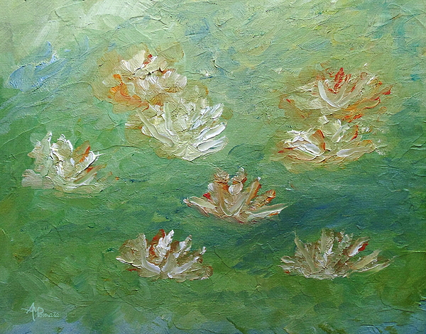 Angeles M Pomata - Waterlilies Abstract