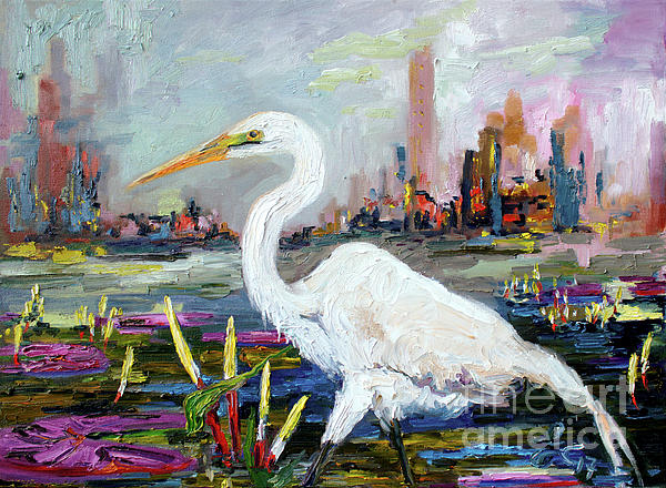 Ginette Callaway - White Heron and City Skyline
